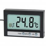 Thermomètre intérieur Way double et extérieur LCD numérique avec affichage de l'horloge Fonction TM-2 Noir - wewoo.fr