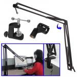 Support Microphone réglable de d'enregistrement table, diamètre pince: 25-28mm - wewoo.fr