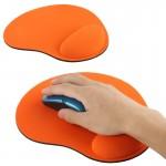 Tapis de souris repose-poignet en gel tissu orange - wewoo.fr