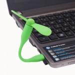 Ventilateur électrique flexible USB portable alimenté 2 pales du Vert - wewoo.fr