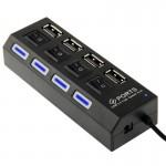 Hub USB 2.0 haute vitesse 4 ports avec commutateur et LED Plug and Play Noir - wewoo.fr