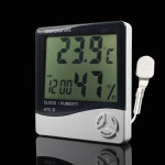 Thermomètre intérieur 3,8 pouces LCD numérique de température et d'humidité compteur avec horloge / calendrier HTC-2 - wewoo.fr