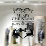 Sticker Mural de Noël Accueil Décor Joyeux Happy New Year Stickers muraux amovibles, Taille: 58 cm x Noir - wewoo.fr