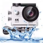 Caméra sport H9 4K Ultra HD1080P 12MP 2 pouces à écran LCD Sports WiFi 170 degrés Grand Angle 30m étanche Blanc