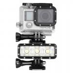 LED waterproof GoPro 300LM torche vidéo étanche avec support de base et vis deux batteries HERO4 Session / 4/3 + 3/2/1, Dazzn...