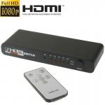 Switch HDMI Commutateur Full HD 1080P Ports avec Télécommande et Indicateur LED Noir - wewoo.fr