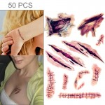 Sticker 50 PCS Halloween Terror Wound réaliste Scratches blessures Scar tatouage temporaire autocollant - wewoo.fr