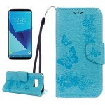 Housse en cuir Galaxy S8 Samsung Papillons embosser Flip Case horizontal avec support et carte Machines à sous porte-monnaie ...