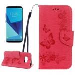 Housse en cuir Galaxy S8 Samsung Papillons embosser flip étui horizontal avec support et carte Machines à sous porte-monnaie ...
