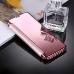 Housse en cuir Galaxy S8 Samsung / G9500 galvanoplastie Miroir Case Retournement horizontal avec sommeil réveil fonction Rose...