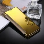 Housse en cuir Galaxy S8 Samsung / G9500 galvanoplastie Miroir Case Retournement horizontal avec sommeil réveil fonction Gold...