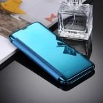 Housse en cuir Galaxy S8 Samsung / G9500 galvanoplastie Miroir Case Retournement horizontal avec sommeil réveil Fonction Bleu...