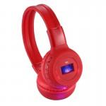 Lecteur MP3 Bandeau pliant stéréo Hi-Fi sans fil casque avec écran LCD et TF fente carte LED Voyant lumineux fonction FM Roug...