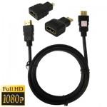 Cable HDMI Version 1.3 3 en 1 Full HD 1080P Kit Adaptateur Câble câble + 1.5m Micro HDMI - wewoo.fr