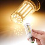 Ampoule LED SMD 2835 E27 8.0W AC 220V 420LM lampe de lumière maïs avec couvercle transparent lumière blanche chaude 102 LEDs ...