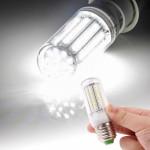 Ampoule LED SMD 2835 E27 8.0W AC 220V 420LM lampe de lumière maïs avec couvercle transparent lumière blanche 102 LEDs - wewo...