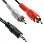Cable RCA Bonne qualité Jack 3,5 mm stéréo mâle Câble audio, Longueur: 3m - wewoo.fr