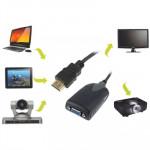 Cable HDMI Version 1.3 mâle vers VGA femelle avec câble audio Noir - wewoo.fr
