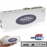 Hub USB 2.0 Salut-vitesse Station d'accueil avec 8 ports 2xUSB + PS2 souris Clavier RS232 DB25 LAN Amont, Argent - wewoo.fr