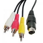 Cable S-Video 4 broches S-Vidéo à 3 RCA AV TV mâle câble adaptateur convertisseur Longueur: 1,5 M Noir - wewoo.fr