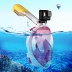 Masque de plongée GoPro 220mm Tube Sports nautiques Équipement Full Dry Snorkel HERO5 / 4/3 + 3/2/1, Taille S M Rose - wewoo.fr