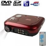 Vidéoprojecteur DVD Projecteur de cinéma maison portable avec récepteur TV Fonction PAL / NTSC SECAM, AV IN OUT et jeu, le su...