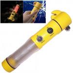Marteau d'urgence 4 en 1 multi fonction lampe de poche d'alarme LED Flash Light Auto-utilisé Jaune - wewoo.fr