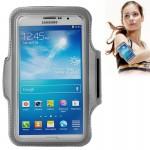Brassard Samsung PU cas avec de sport écouteurs Trou Galaxy Mega 6.3 / i9200 en dessous 6,3 pouces Téléphones Gris - wewoo.fr