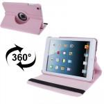 Smart Cover iPad Mini 360 degrés Rotatif Litchi Texture étui en cuir avec support 1/2/3 rose - wewoo.fr