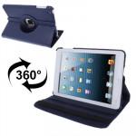 Smart Cover iPad Mini 360 degrés Rotatif Litchi Texture étui en cuir avec support 1/2/3 bleu foncé - wewoo.fr