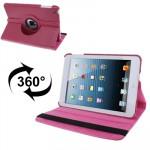 Smart Cover iPad Mini 360 degrés Rotatif Litchi Texture étui en cuir avec support 1/2/3 magenta - wewoo.fr
