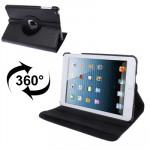 Smart Cover iPad Mini 360 degrés Rotatif Litchi Texture étui en cuir avec support 1/2/3 noir - wewoo.fr