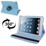 Smart Cover iPad Mini 360 degrés Rotatif Litchi Texture étui en cuir avec support 1/2/3 bébé bleu - wewoo.fr