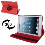 Smart Cover iPad Mini 360 degrés Rotatif Litchi Texture étui en cuir avec support 1/2/3 rouge - wewoo.fr