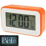 Réveils Multi Function Grand écran Réveil avec calendrier et LCD Light & Snooze Touch Orange - wewoo.fr