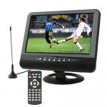 Moniteur LCD 9,5 pouces couleur TFT Portable TV analogique avec grand angle de vue, Support carte SD / MMC, disque flash USB,...