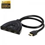 Switch HDMI 3x1 Switcher Pigtail jusqu'à 1080P plaqué or Noir - wewoo.fr