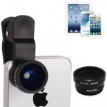 Objectif iPhone Multifonction 3 en 1 photo Kits Lens 180 degrés Fisheye + Super Wide lentille macro, l'iPhone, Galaxy, Sony, ...