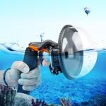 Couverture transparente lentille Shutter Trigger + Dome Port Lens Cover transparent flottant Poignée plongée avec sangle Flot...