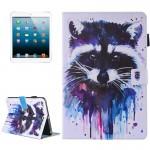 Coque Cuir iPad Mini 4 4/3/2/1 Peinture colorée Motif raton laveur flip étui en horizontal avec support et porte-monnaie fent...