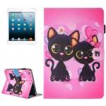 Coque Cuir iPad Mini 4 4/3/2/1 Peinture Deux chats Motif flip Étui horizontal en avec support et porte-monnaie fente carte Ma...