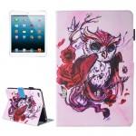 Coque Cuir iPad Mini 4 4/3/2/1 Papillon de peinture et hibou Motif flip étui en horizontal avec support porte-monnaie fente c...