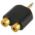 Adaptateur RCA Plaqué or femelle à 3.5mm mâle Jack Audio Y - wewoo.fr