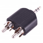 Adaptateur RCA 2x mâle à 3.5mm Jack Audio Y Noir - wewoo.fr