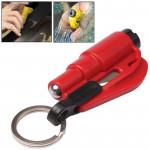 Marteau d'urgence 3 en 1 voiture / Porte-clés Couteau verre brisé outil portable Rouge - wewoo.fr