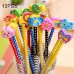 Crayon 10 PCS Papeterie créative Cartoon Animals Série en bois HB avec Gomme enfants crayons école de fournitures bureau, liv...