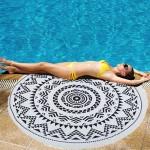 Serviette de plage bain été Microfibre ronde sable Châle Foulard, Taille: 150 x cm N2920 - wewoo.fr