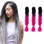 Extension cheveux Mode dégradé de couleur individuelle Braid Perruques Chemical Fiber Big Tresses, Longueur: 60 cm Noir + Mag...