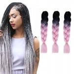 Extension cheveux Mode dégradé de couleur individuelle Braid Perruques Chemical Fiber Big Tresses, Longueur: 60 cm noir + ros...