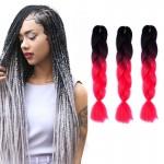 Extension cheveux Couleur Mode dégradé individuelle Braid Perruques Chemical Fiber Big Tresses, Longueur: 60 cm Rose Noir + P...